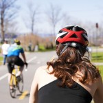Girl with bike helmet