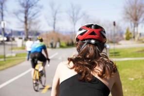 Girl with bike helmet