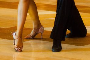 picture of girl and boy legs on the dancefloor with outfit and perfect dancing shoes