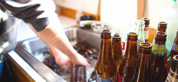 washing the bottles