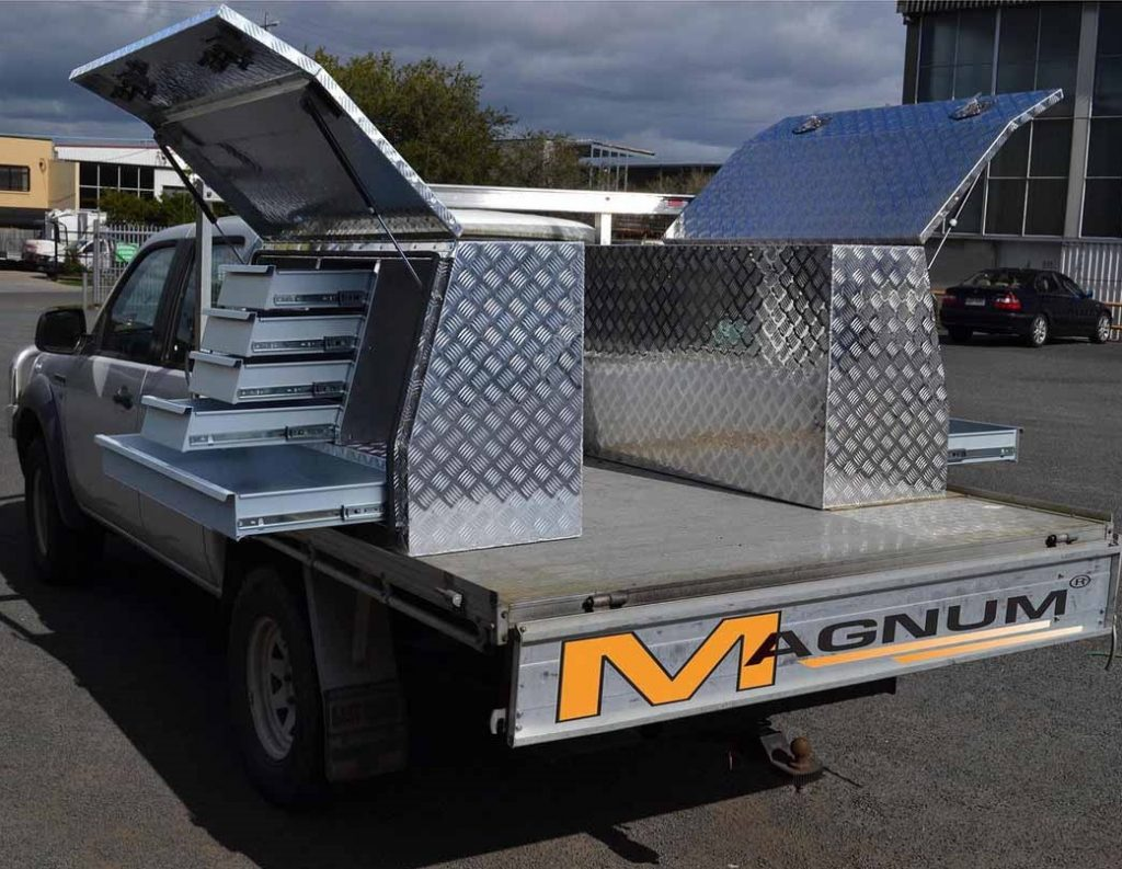 picture of an ute with an aluminum toolboxes