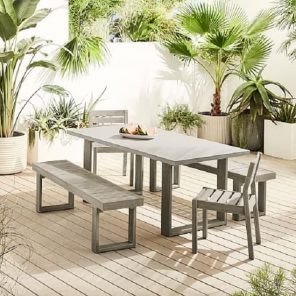 concrete chairs and tables