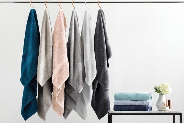 different colors bath towels hanged