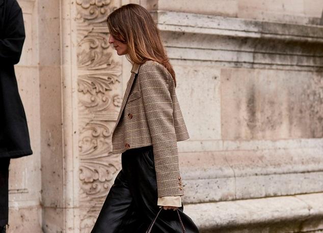 Woman in cropper blazer